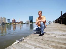 Jay Martin, an ecological engineer with The Ohio State University, poses next to the Maumee River in Toledo, Ohio, in this 2015 photo. (Photo: Ken Chamberlain, CFAES.)